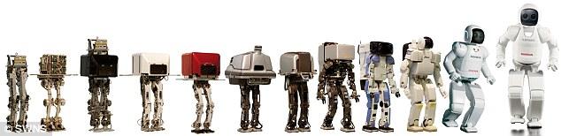 - Калейдоскоп роботов Асимо разных поколений, начиная с самого первого образца 1986 года и заканчивая последней моделью 2014 года.