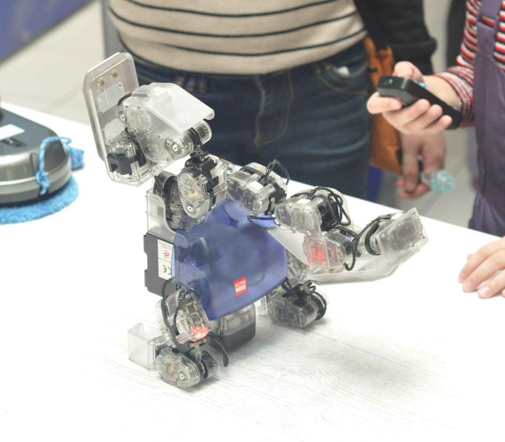 Андроидный робот Robobilder вытворял акробатические трюки по команде с удобного пульта управления, которым мог воспользоваться любой посетитель выставки.