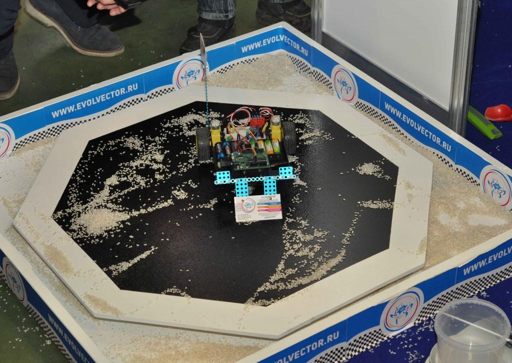 Помимо прочего можно было принять и участие в очень оригинальных соревнованиях - попробовать себя в роли оператора робота-снегоуборщика и очистить арену максимально от искусственного снега.
